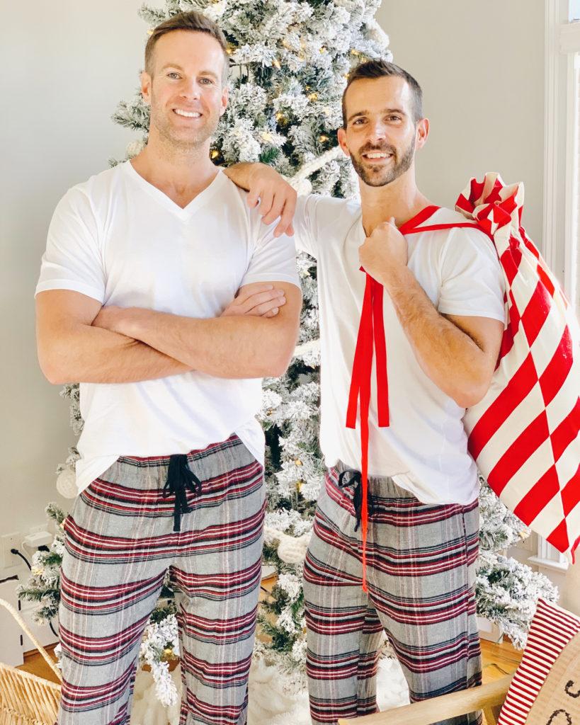 jockey mens tall holiday christmas flannel pants and jockey white vneck tee