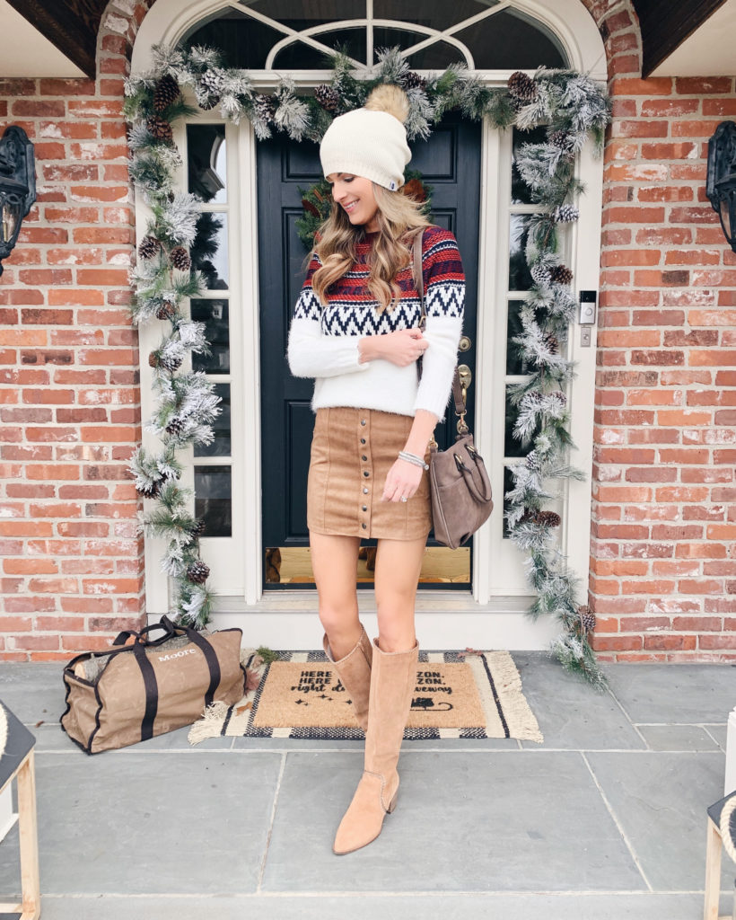 winter fair isle sweater with button down mini skirt and sole society alexie tall boots