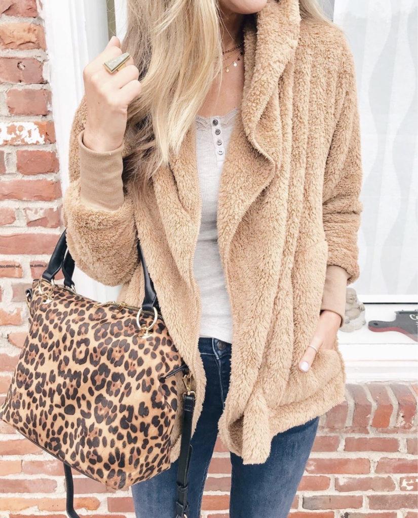 Sole society soft camel short cozy fleece coatigan and leopard Helena satchel