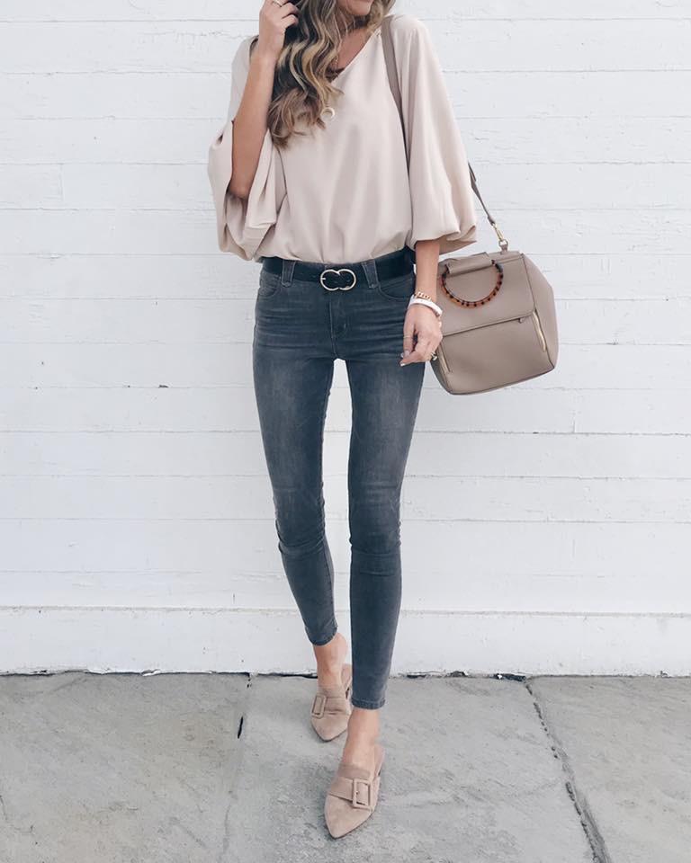 Amazon prime khaki tan V Neck Chiffon Balloon Sleeve top with grey skinny jeans