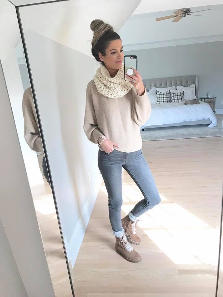 amazon boat neck batwing dolman sleeve knit sweater with cream infinity scarf target sherpa hiking boots