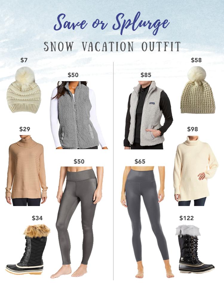 save or splurge snow vacation cold weather outfit idea - snow boots leggings faux fur vest pom beanie