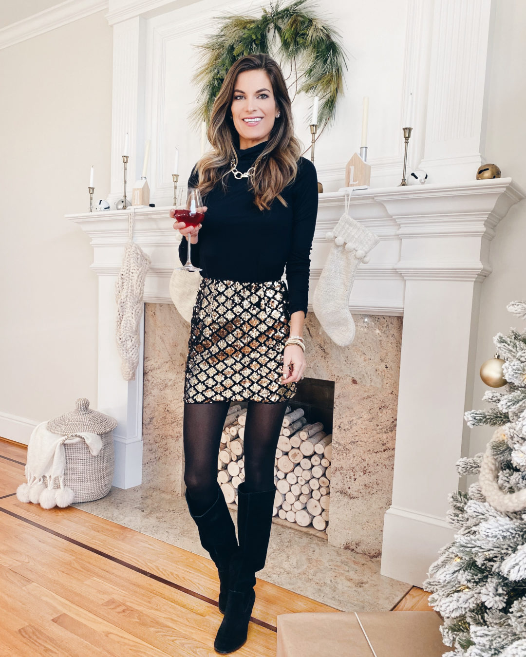 new years eve outfit ideas - black turtleneck top with amazon gold sequin mini skirt black tights and sole society black Prony wedge boots