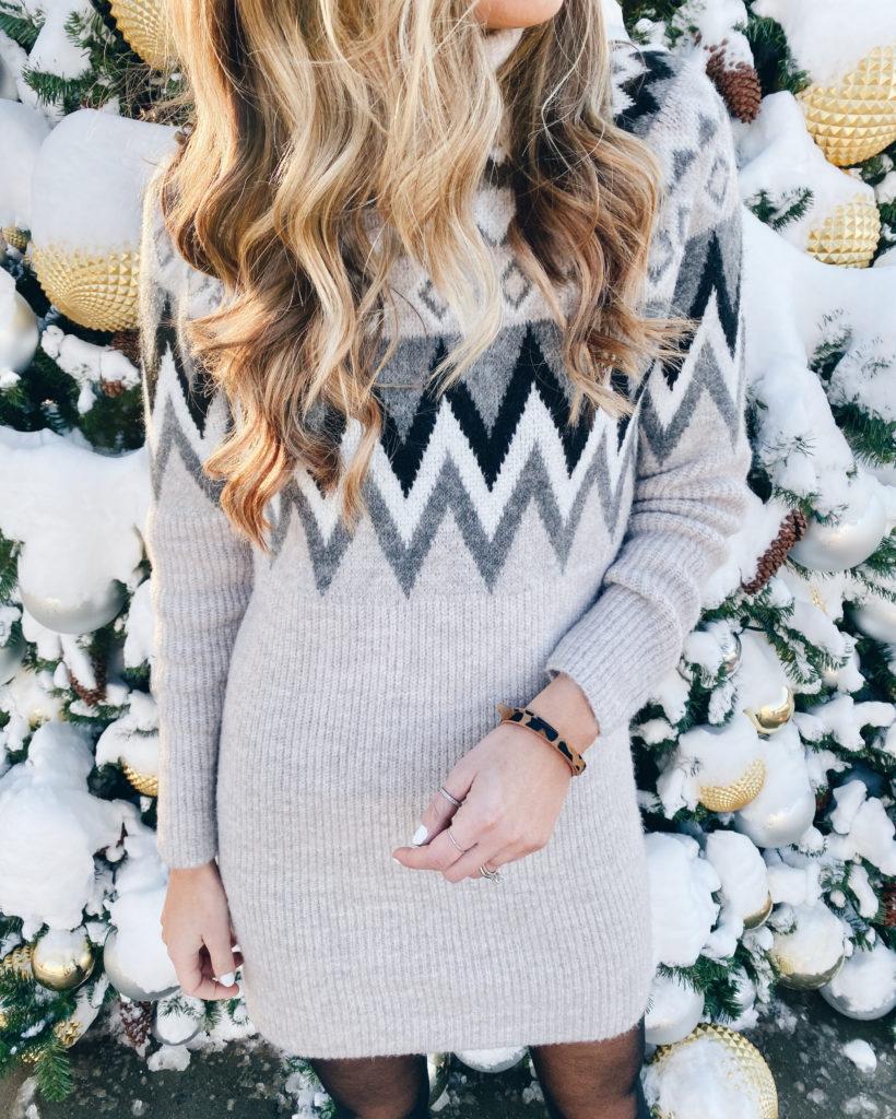 sweater dress with leopard wrap bracelet by victoria emerson design - pinteresting plans fashion blog
