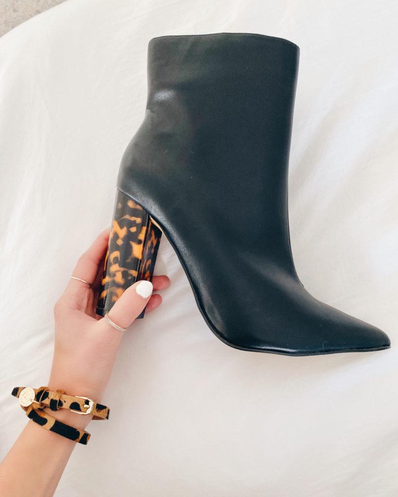 Victoria Emerson leopard wrap bracelet and tortoise heel boots