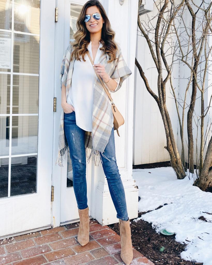 how to wear light layers in spring - sole society plaid short sleeve fringe kimono with simeona walnut block heel bootie