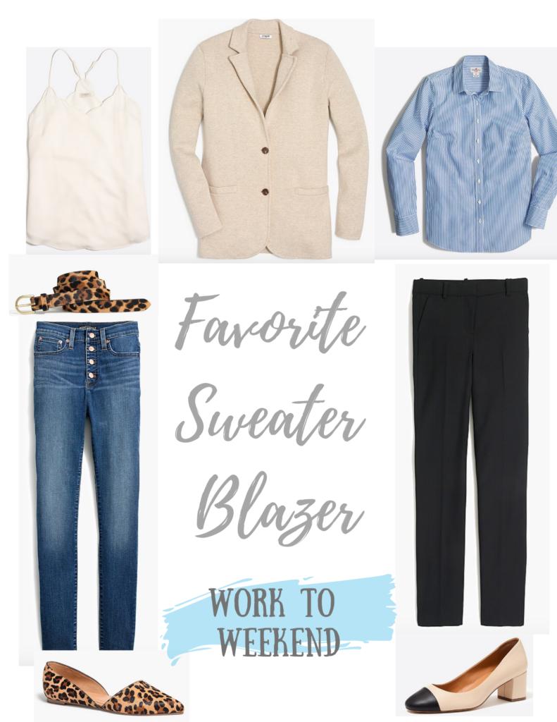 how to take my favorite sweater blazer from workwear to weekend wear