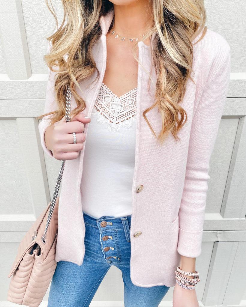 Loft white lace trim cami with heather quartz j crew sweater blazer and j crew button fly skinny jeans and Victoria Emerson wrap bracelet