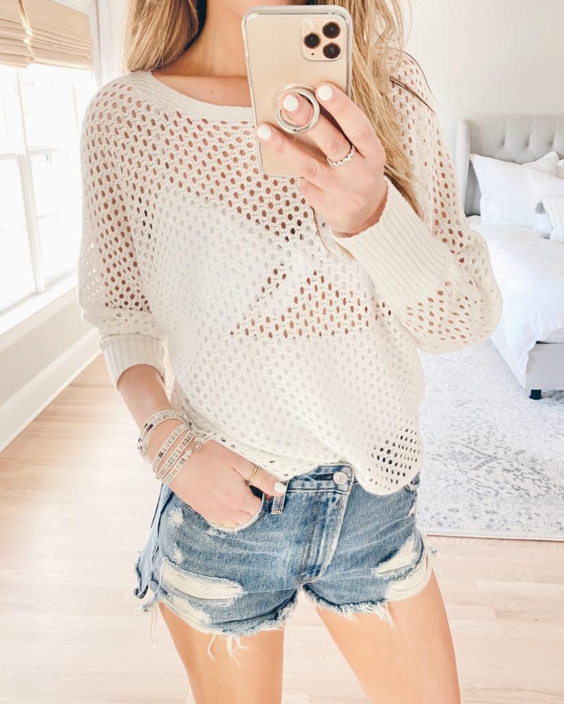 open stitch sweater with high waisted denim shorts - pinteresting plans fashion blog Victoria Emerson bracelet favorites