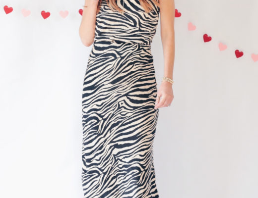 Valentine's Day outfit ideas tan black zebra cami slip top with matching slip skirt set