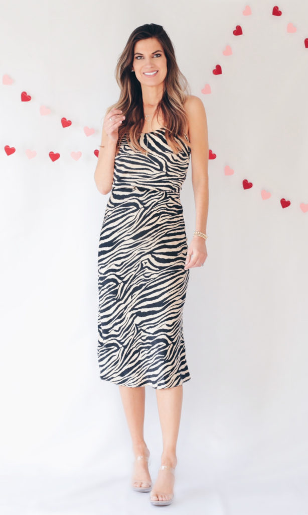 dressy Valentine's Day outfit ideas tan black zebra cami slip top with matching slip skirt set and clear heels
