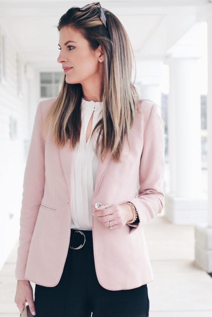 blush pink workwear blazer - spring work fashion 2020 - pinteresting plans fashion blog