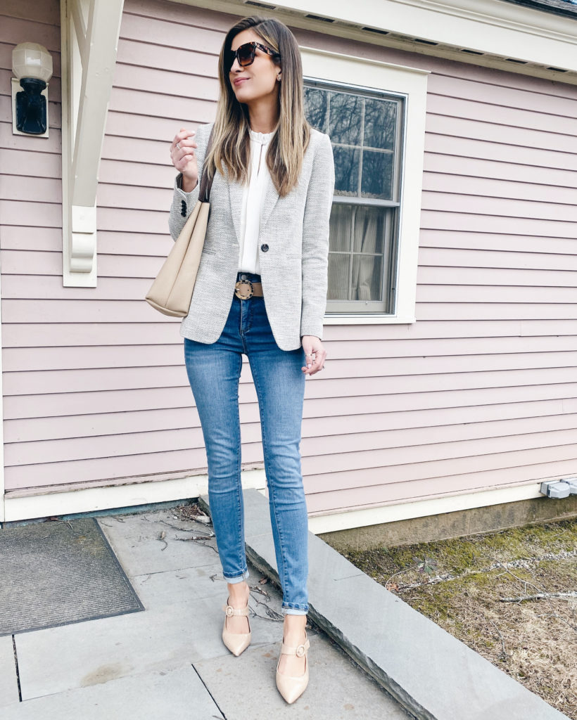 textured neutral spring blazer outfit - business casual spring outfit - pinteresting plans fashion blog