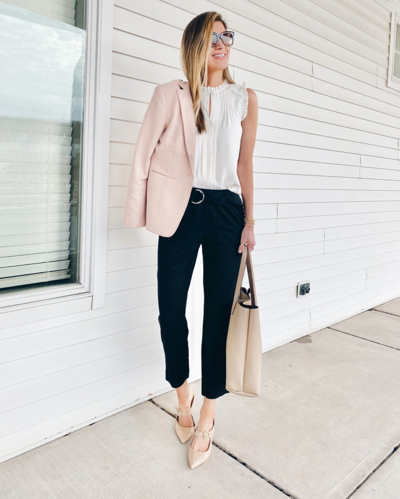 workwear outfit for spring with pink blazer - pinteresting plans blog