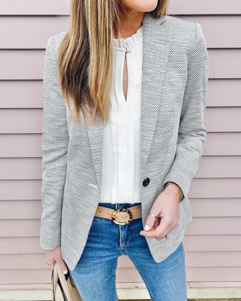 textured spring blazer over white tank blouse - pinteresting plans fashion blog
