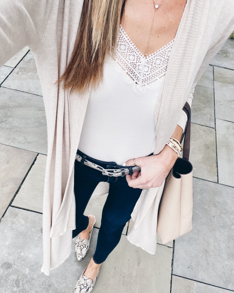 casual spring outfit with maxi cardigan and Victoria Emerson boho cuff bracelet