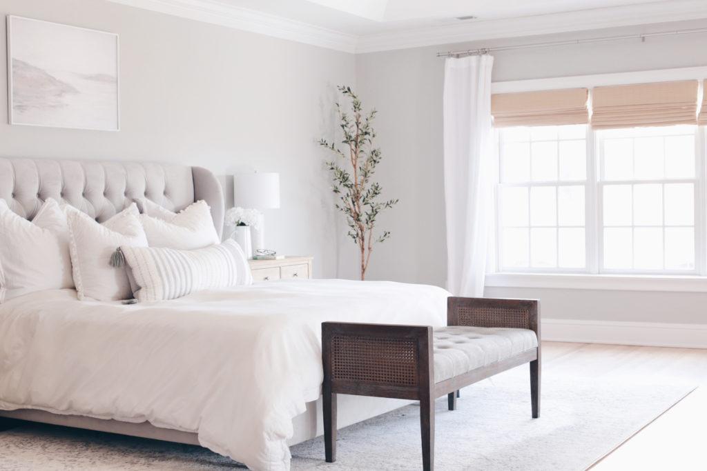 modern master bedroom with gray walls - pinteresting plans blog