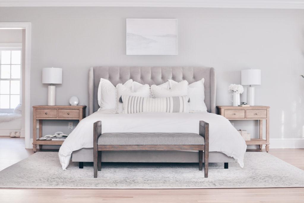 modern master bedroom with upholstered bed - pinteresting plans blog