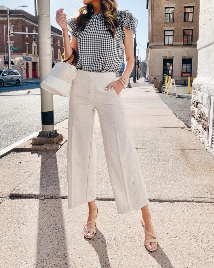 spring work appropriate pants - ann taylor cream wide leg marina crop pants
