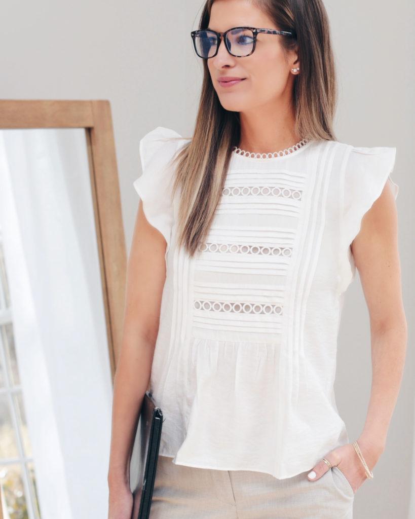 cute white spring flutter top on pinteresting plans fashion blog