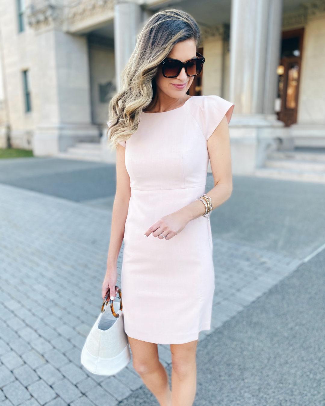 blush pink sheath dress with ruffle shoulder on pinteresting plans fashion blog