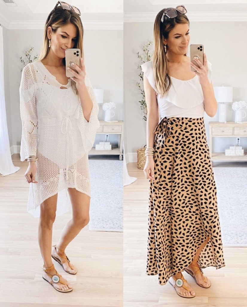 spring break or summer beach vacation swimsuit coverup outfit ideas