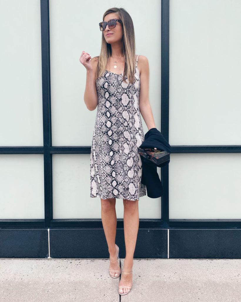 how to style a snake print midi slip dress on pinteresting plans fashion blog