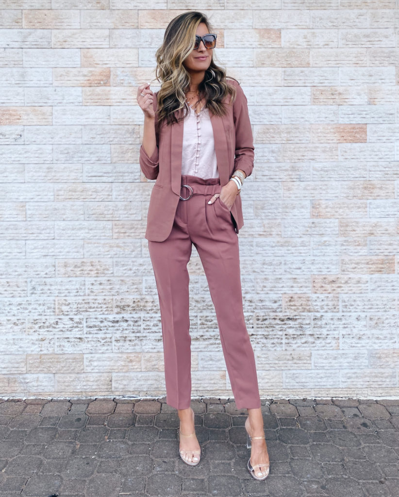 spring workwear - express ruched sleeve boyfriend blazer with matching high waisted o-ring paperbag ankle pants