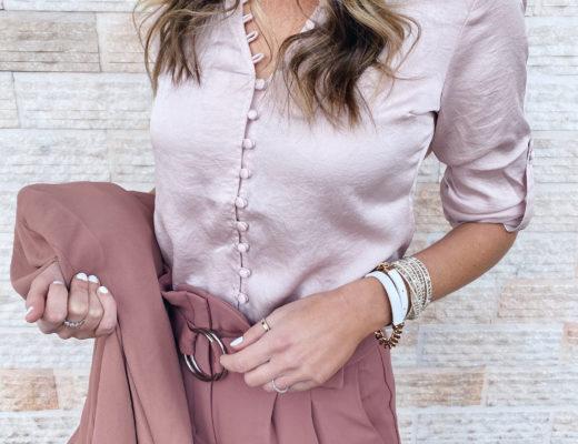spring workwear essential - express truffle pink slim ruffle covered button portofino shirt