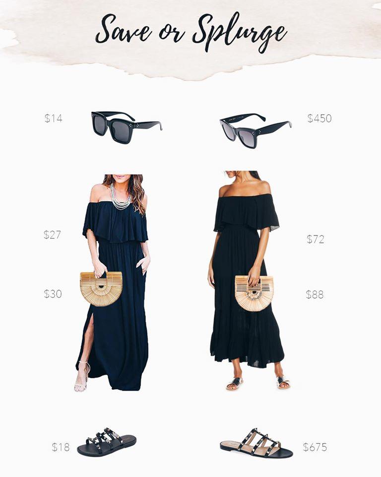 save or splurge fashion - strapless black maxi dress with cult gaia mini ark bag dupe