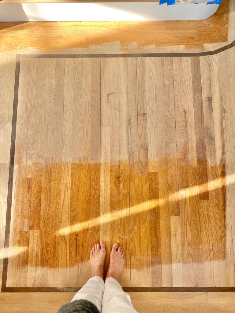 silvered gray and custom stain on red oak hardwood floors - pinteresting plans blog