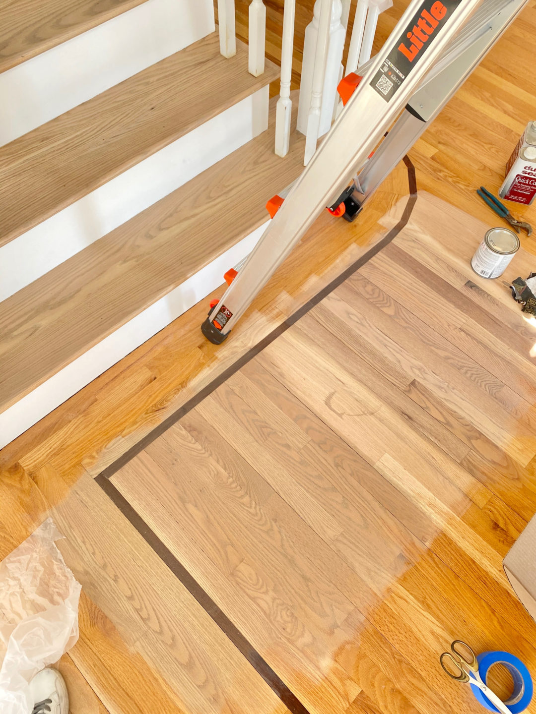 custom stain and duraseal silvered gray stain on red oak hardwood floors