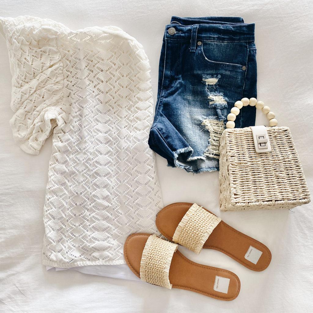 white pointelle crewneck lightweight sweater for spring with denim boyfriend shorts on Pinteresting plans fashion blog