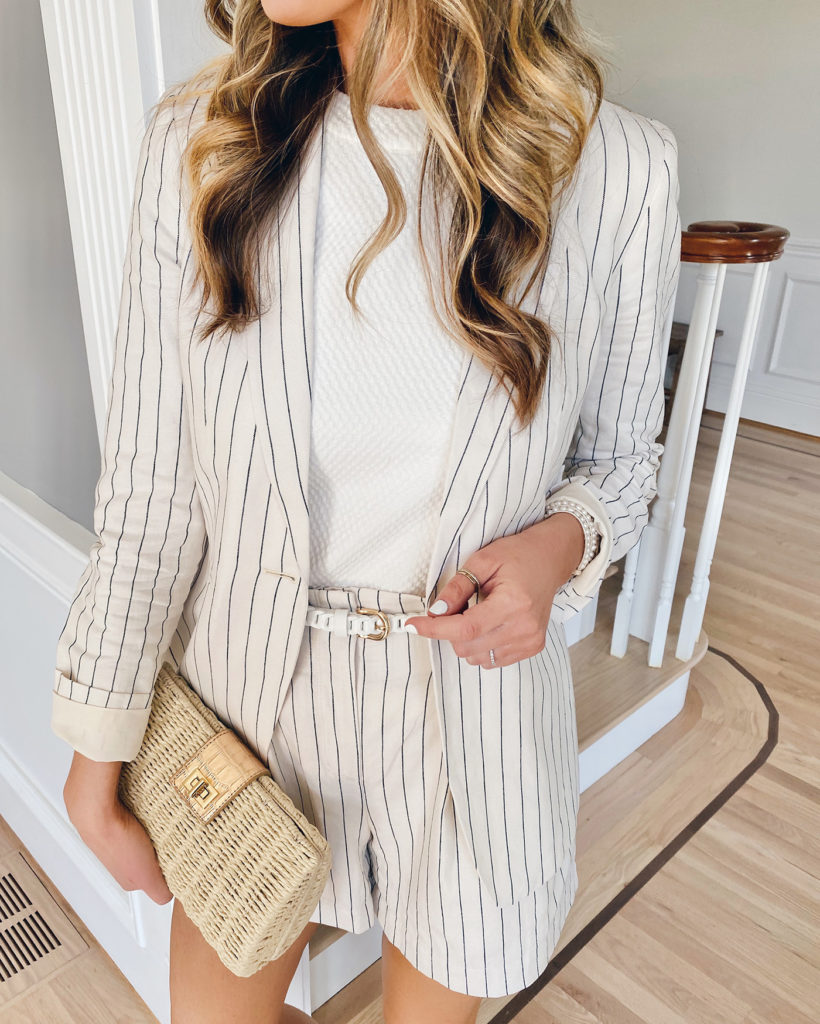 how to wear matching pinstripe blazer and shorts outfit on pinteresting plans fashion blog