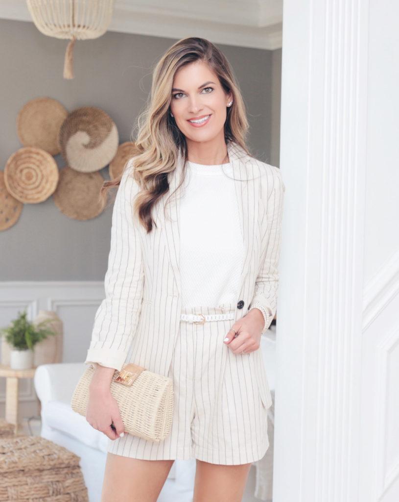 matching 2 piece tan pinstripe blazer shorts set from on pinteresting plans blog