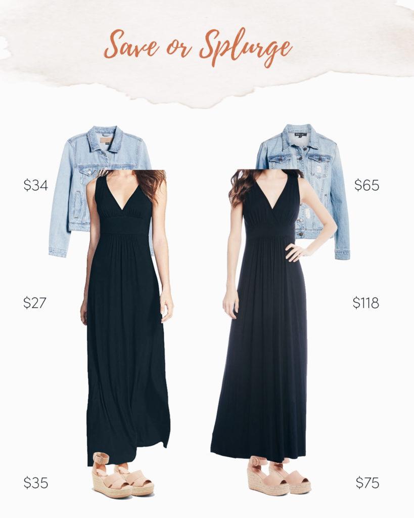 save or splurge finds on pinteresting plans blog - black maxi dress and denim jacket