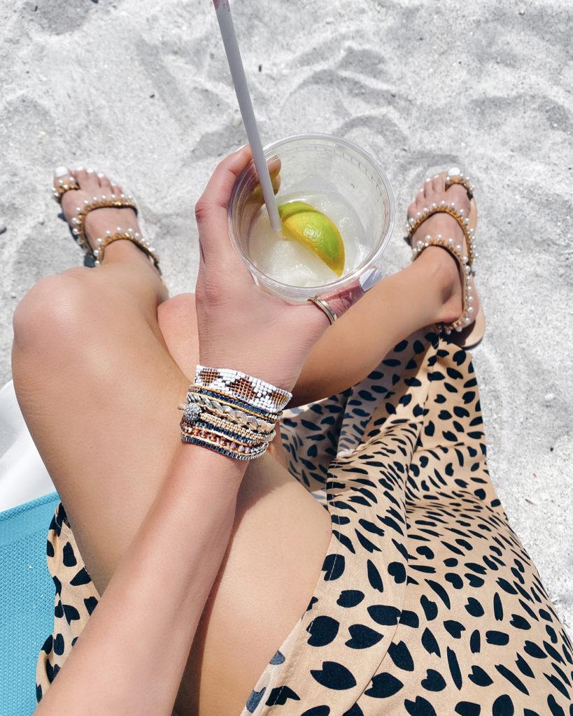 beachwear - amazon leopard swim coverup skirt and pearl sandals on pinteresting plans fashion blog