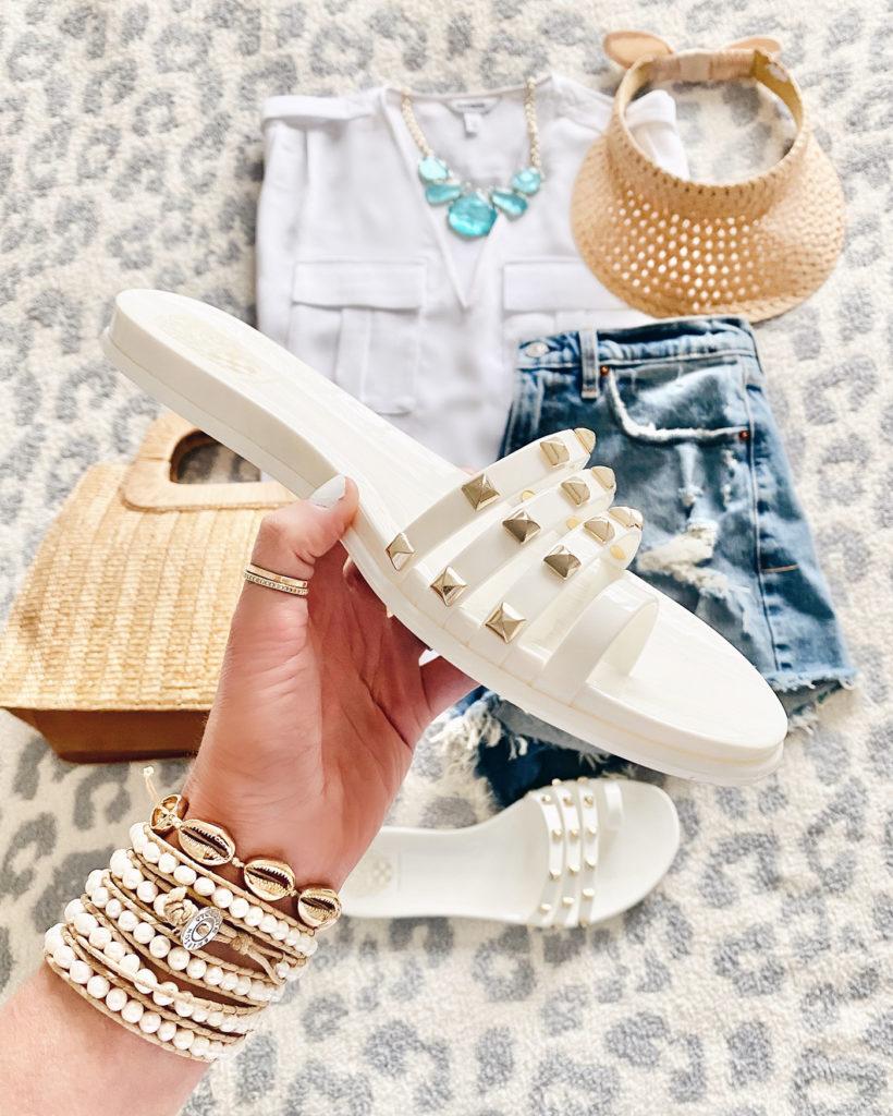 vince camuto white elishenta studded sandal on pinteresting plans fashion blog