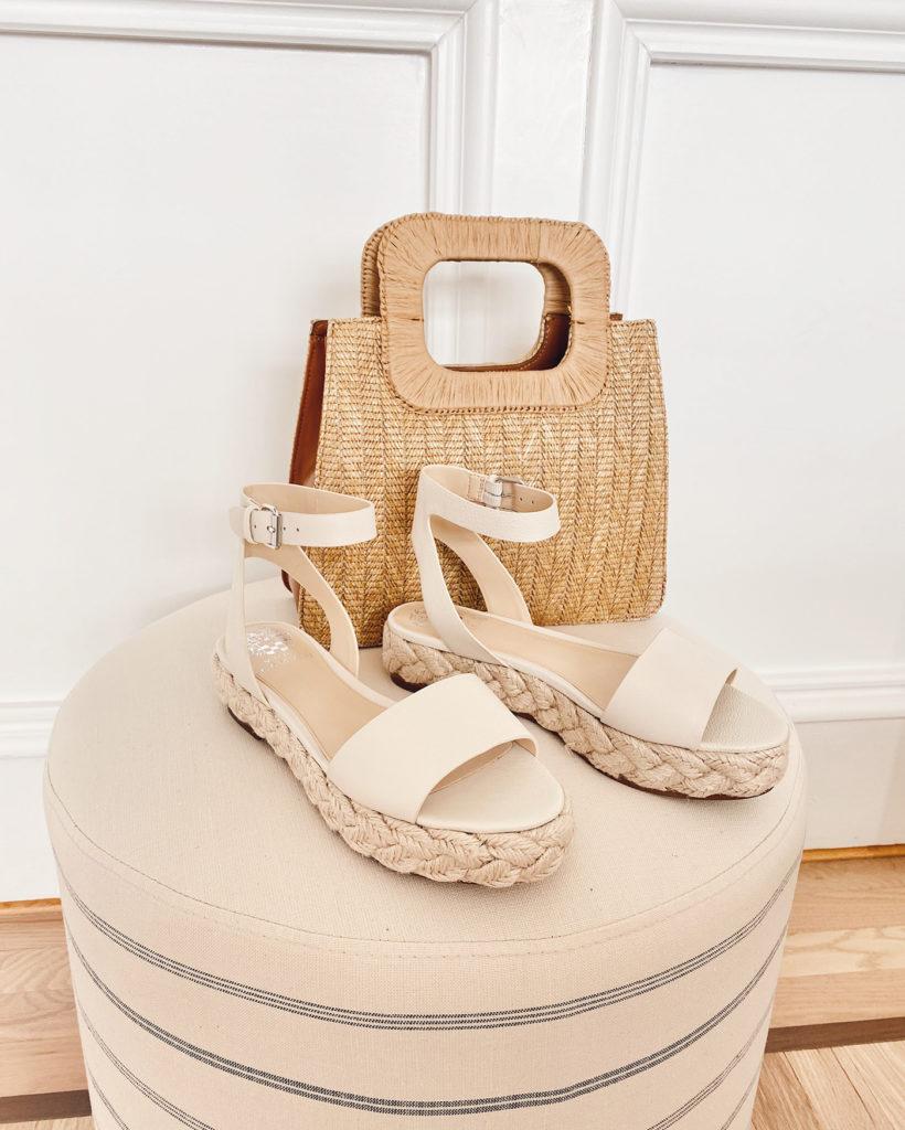 vince camuto braided flatform sandals and kenni straw satchel