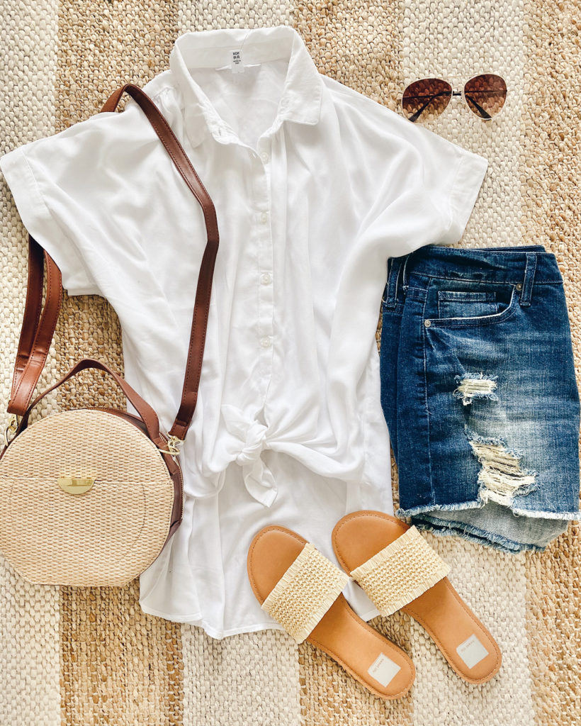 white button down collared short sleeve tie front top woven sandals and round woven canteen summer bag
