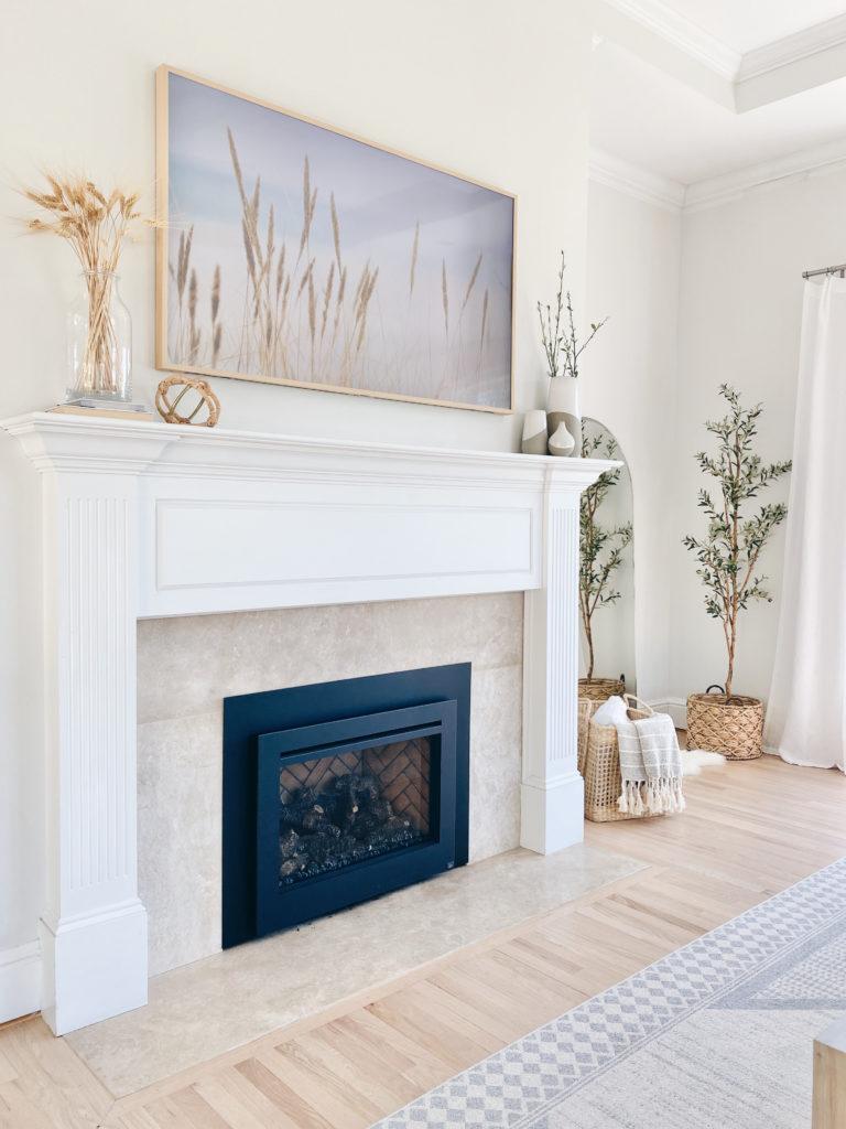 "neutral home decor featuring samsung frame 65"" tv with light wood bezel frame on pinteresting plans"
