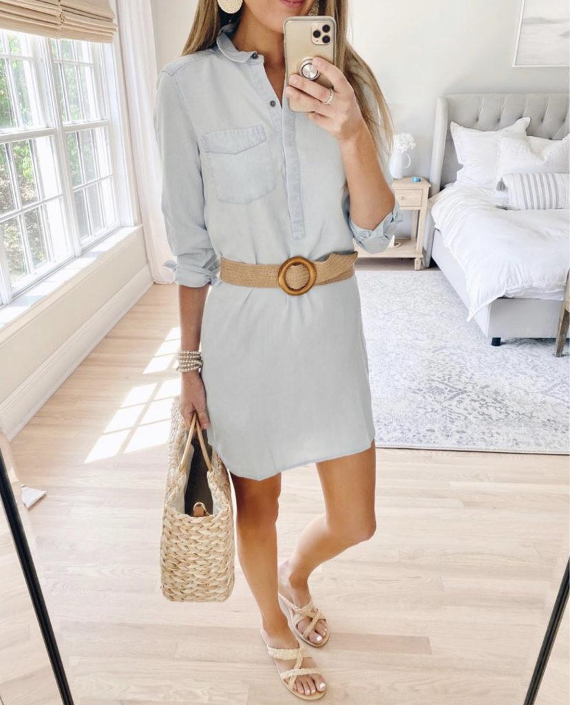 blue tencel shirt dress with woven belt - popular amazon fashion on pinteresting plans blog