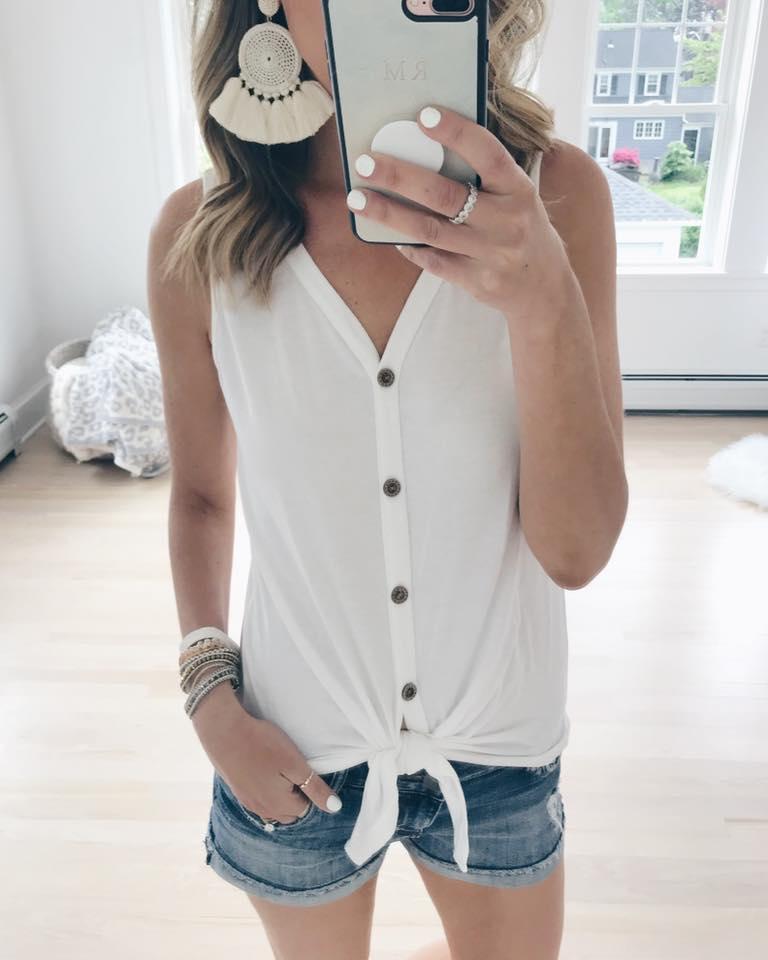 amazon fashion bestsellers - white button tie front tank