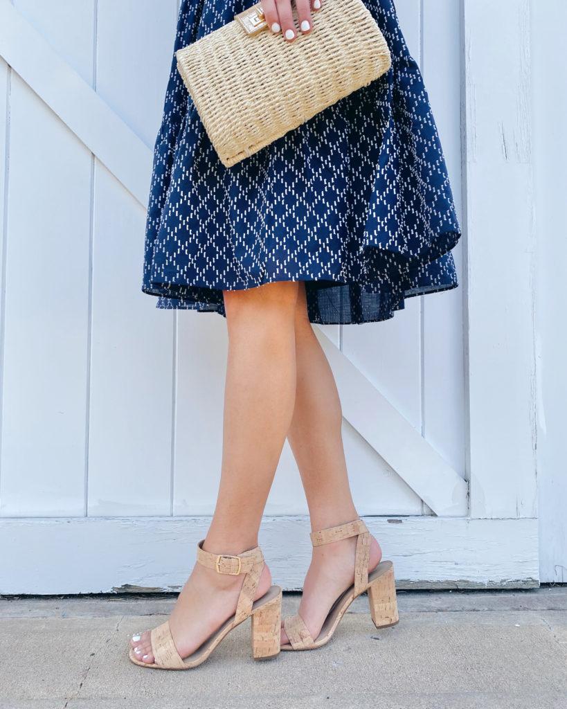 navy midi dress and cork block heeled sandals for summer wedding