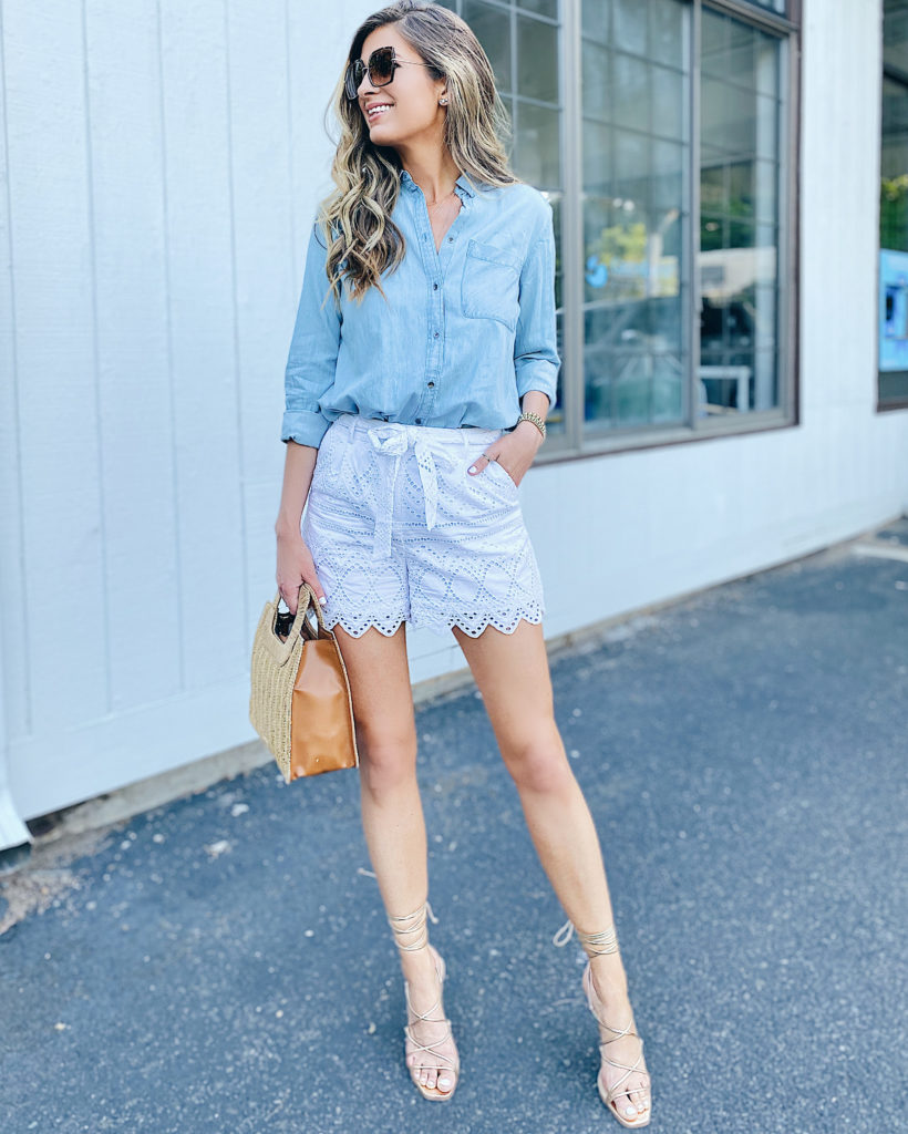 casual summer outfit ideas featuring chambray shirt and white eyelet shorts