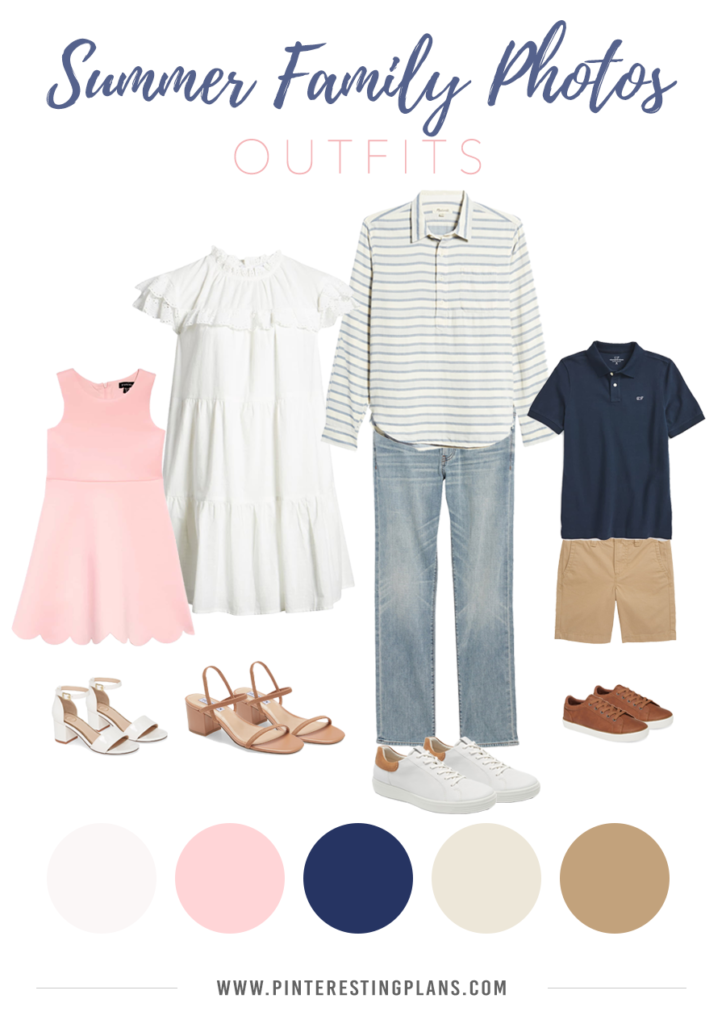 outfit ideas for an outdoor summer family photoshoot - pink, blue and neutral color scheme
