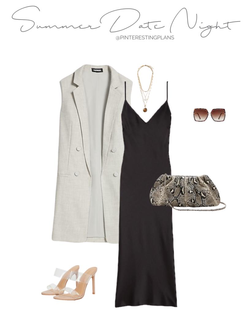 summer date night outfit - black slip dress