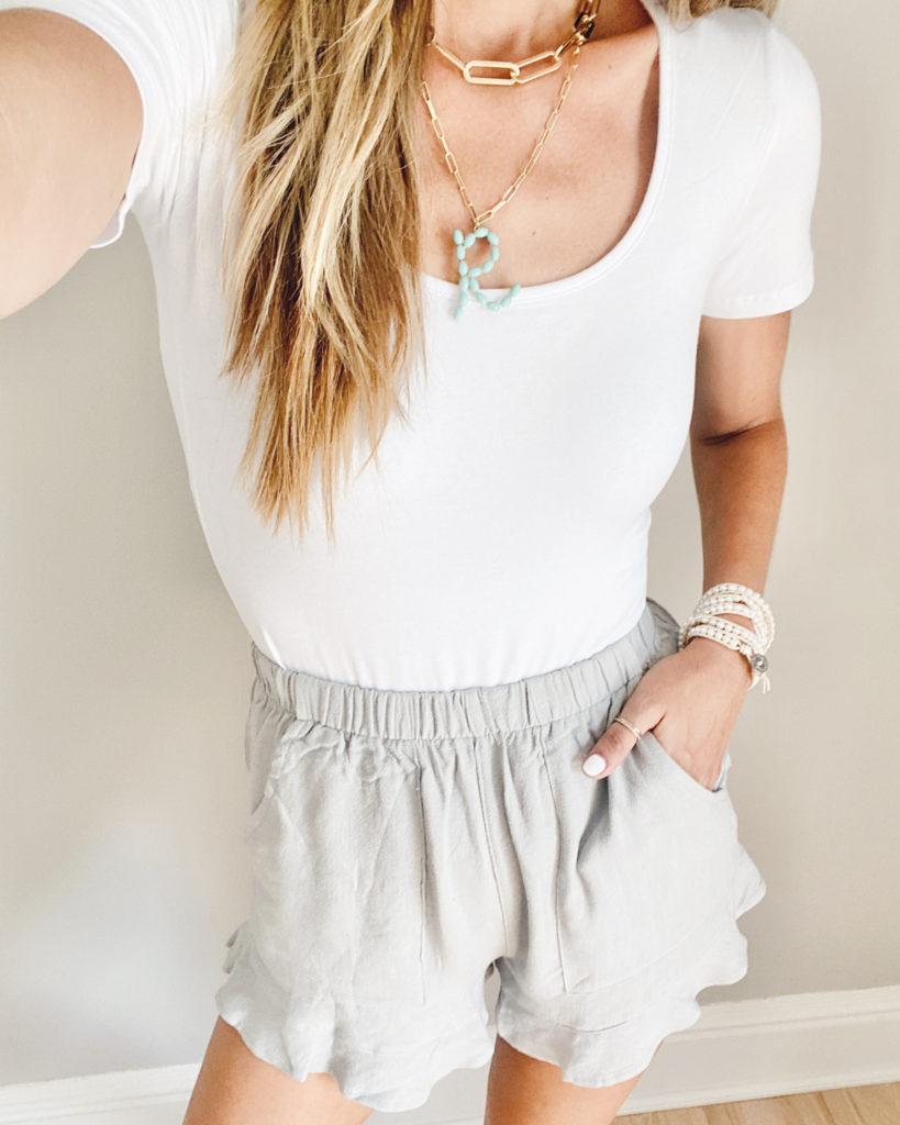 affordable amazon fashion white short sleeve scoopneck bodysuit with ruffle hem shorts