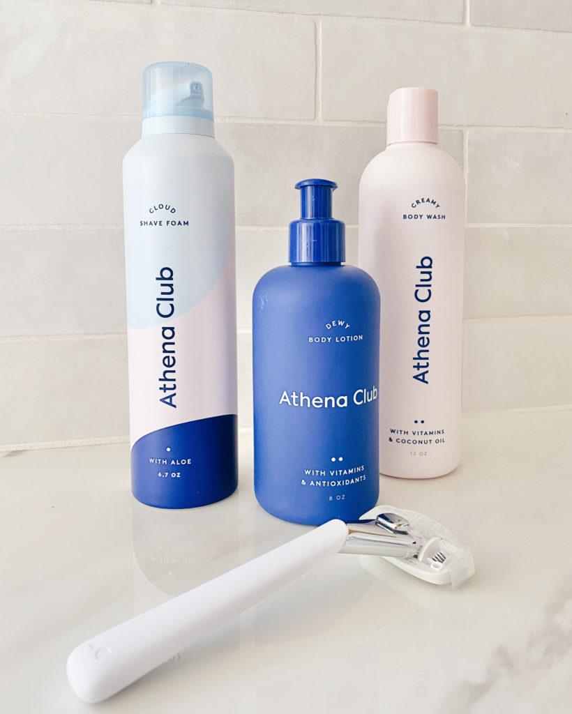 athena club body wash shaving foam and dewy body lotion