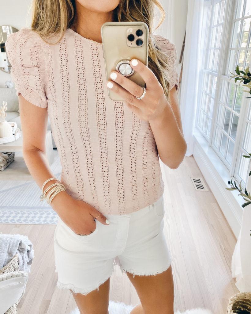express blush pink eyelet lace puff sleeve tee with white raw hem jean shorts